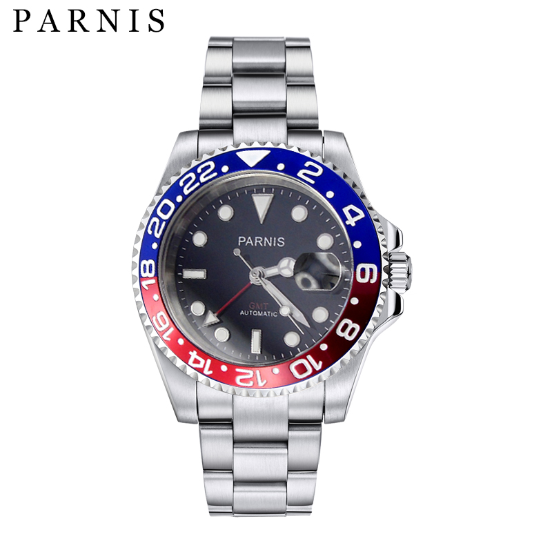 Men's Mechanical 40mm Parnis Watches Rotating Ceramic Bezel Full Stainless Steel Sapphire Wristwatch GMT Automatic Watch Men top brand luxury mens mechanical watches parnis 41mm full stainless steel automatic watch men rotating bezel luminous wristwatch