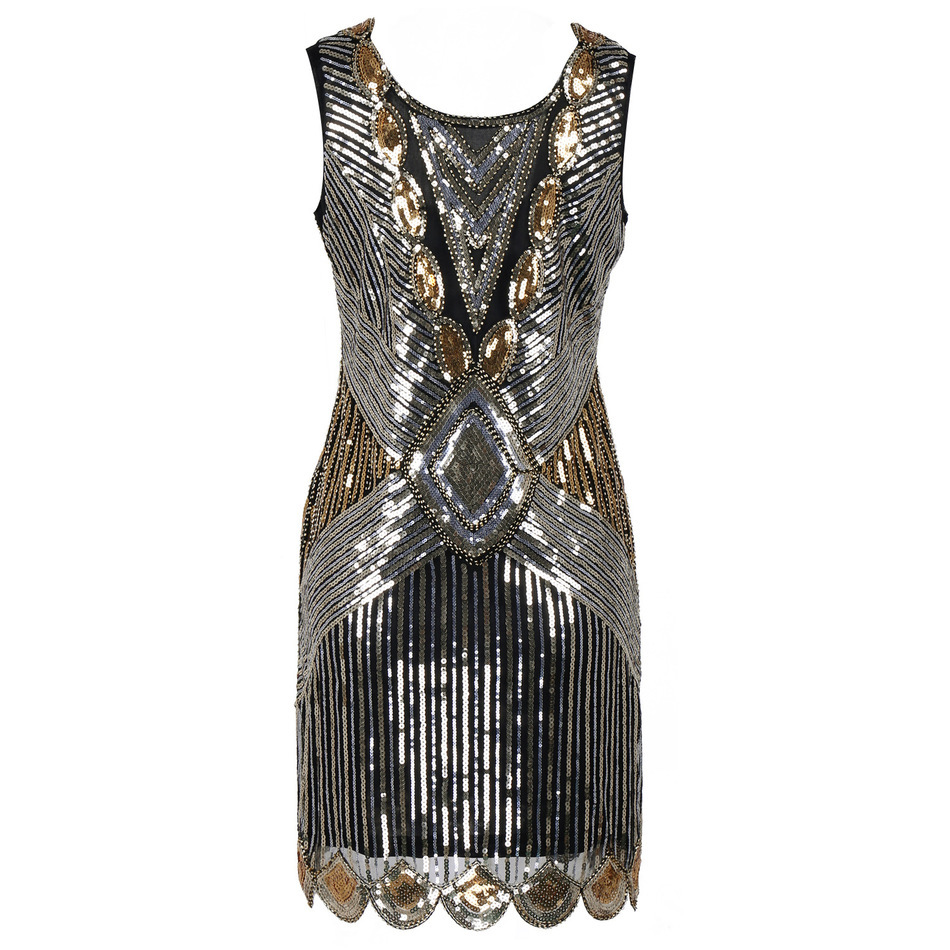 24711498 Women 1920s Gatsby Sequin Art Deco Scalloped Hem Deep V Back Inspired Flapper  Dress Roaring 20s Gatsby BLACK Dress Tunic Top