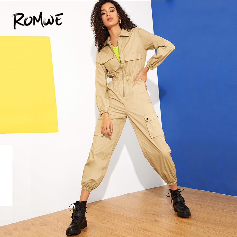 ROMWE Zip Front Multi-Pocket Equipment Utility   Jumpsuit   2019 Posh Mid Waist Womens   Jumpsuit   Khaki Long Sleeve   Jumpsuit