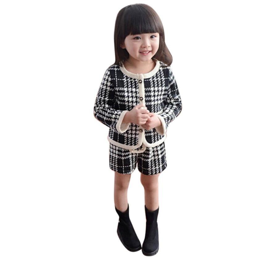 MUQGEW Enfants Survêtement Bébé Filles Outfit Vêtements Plaid Cardigan Manteau Tops + Shorts Pantalon Ensemble Filles Tenues Vetement Fille QZ06