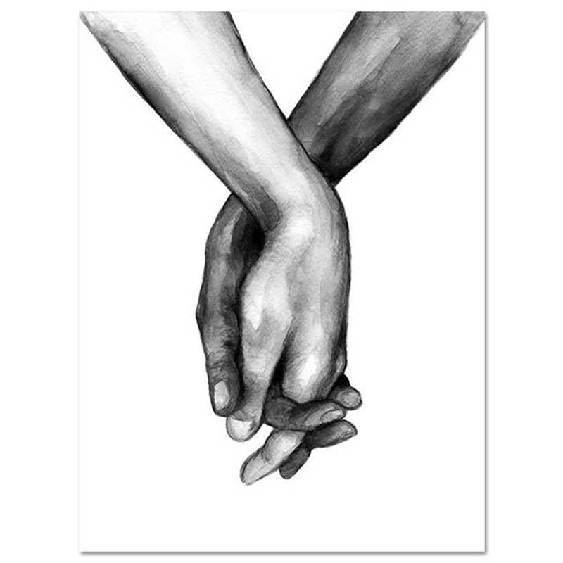 Poster della Tela di canapa di Arte Della Parete 1PC Pittura Decorativa Senza Cornice in Bianco E Nero Nordic Amante Per Soggiorno Tenendo Le Mani