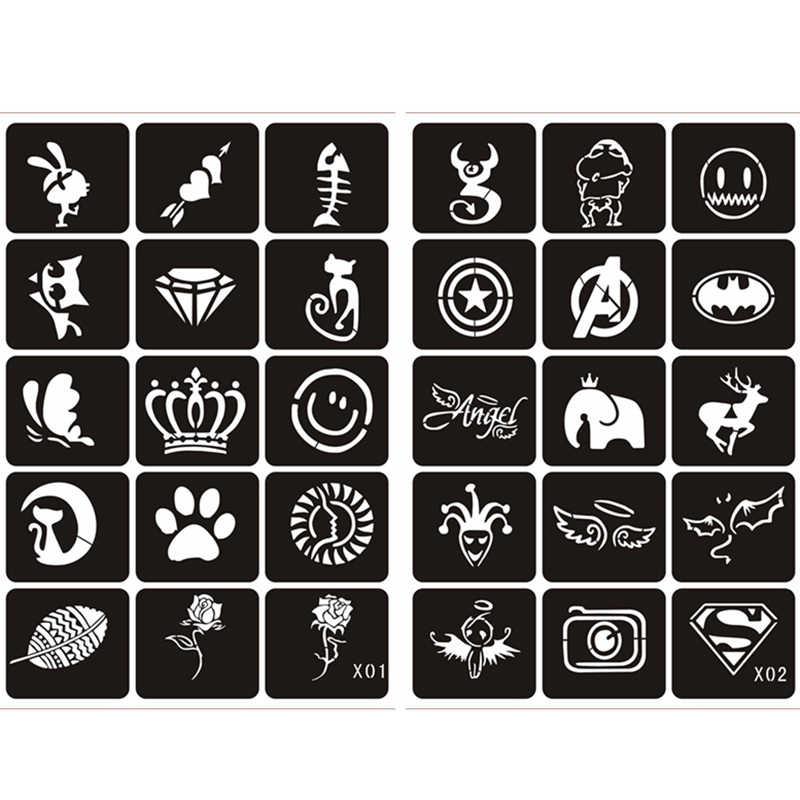 10/15 hoja pequeña brillo mujer dibujo tatuaje pintura del cuerpo, Flor Mariposa dibujos animados niños niñas lindo aerógrafo plantillas y plantillas