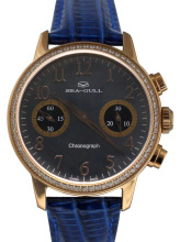 Seagull Rhinestones Bezel Mother of Pearl Dial Blue Genuine Leather Band Women Chronograph Watch 719.754L