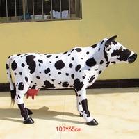 Огромные моделирования Игрушка Корова реалистичные большие ремесленных корова модель подарок около 100 х 65 см