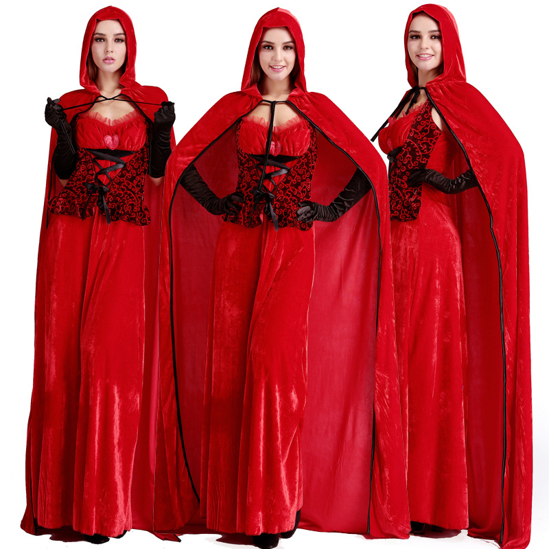 Christmas costumes girls game uniforms Little Red Riding Hood cosplay play costumes one-piece suit long skirt