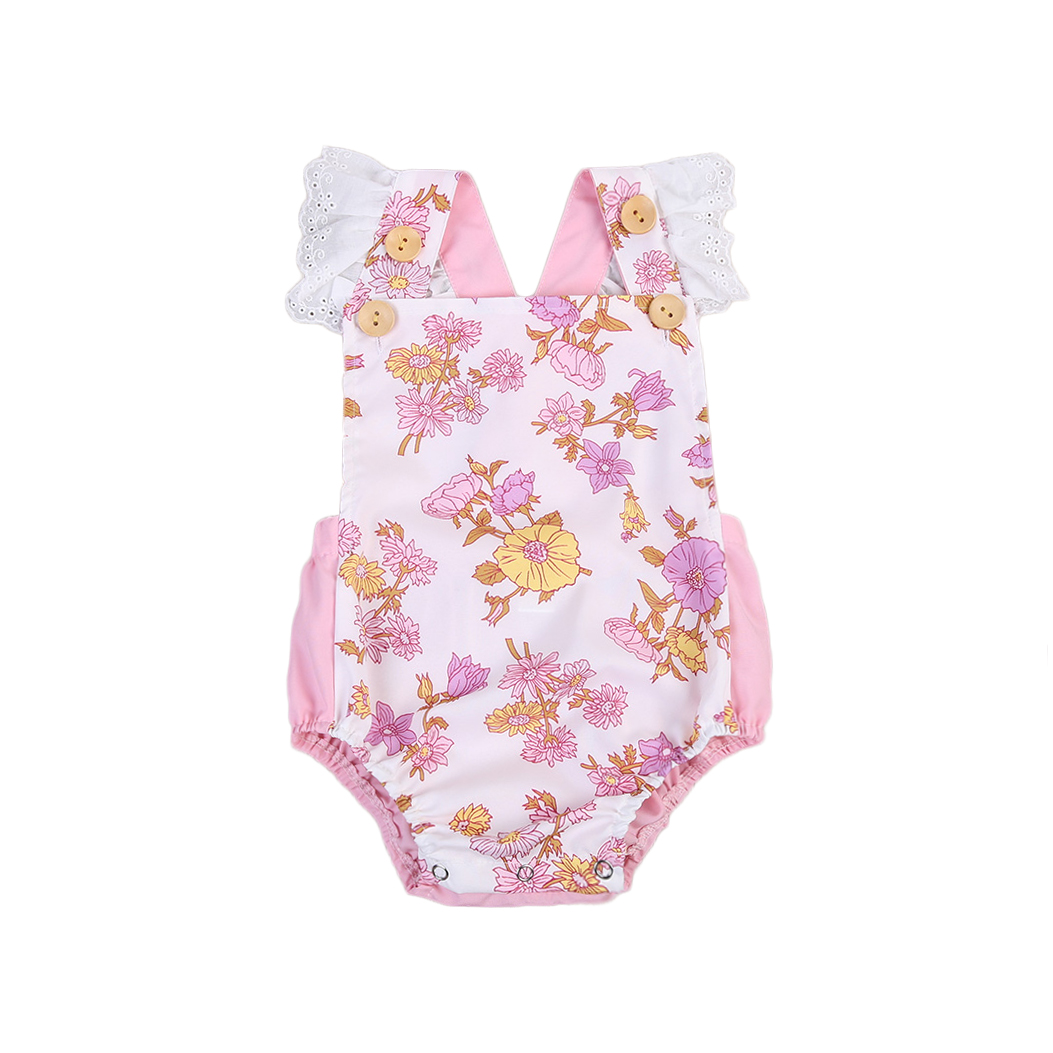 Newborn Infant Baby Girl Floral Back Cross Romper Lace Flying Sleeve Jumpsuit Outfits Summer Floral Clothes