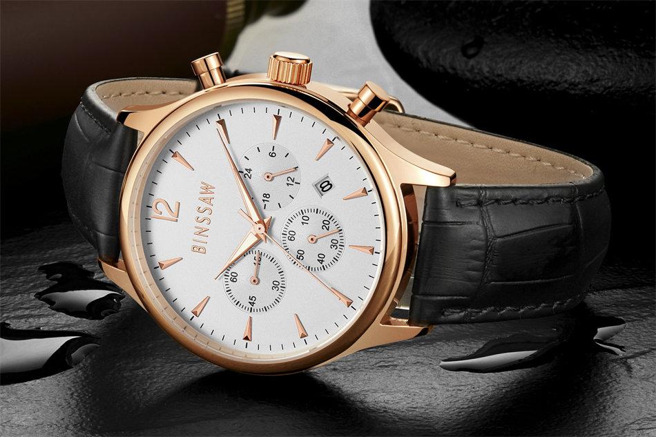BINSSAW 2017 nieuwe heren kijken luxe merk Fashion Casual 100M leer - Herenhorloges - Foto 4