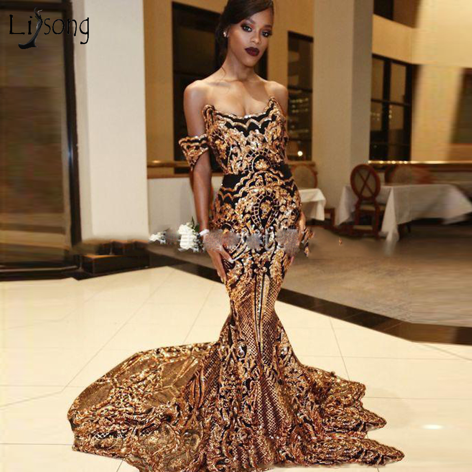 Dubai Luxury Sequined Lace Mermaid   Prom     Dresses   Off The Shoulder Sexy Long Formal party   Dress   Bling Bling   Prom   Gowns