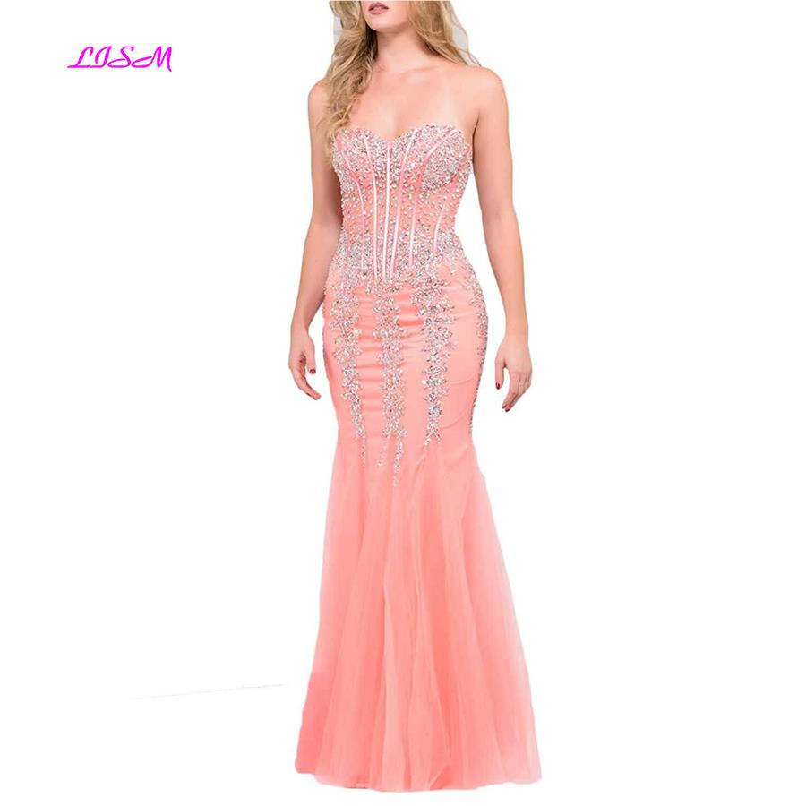 LISM Sweetheart Crystals Beaded Mermaid Prom Dress Appliques Tulle Long Evening Dress 2019 Sexy Bodice Sequins vestido formatura in Prom Dresses from Weddings Events