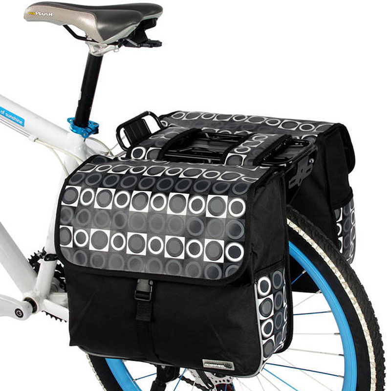 ROSWHEEL Carrier Bag 28L Rear <font><b>Rack</b></font> Trunk Bike Luggage Back <font><b>Seat</b></font> Pannier Two Double Bags Outdoor Cycling Saddle Storage 14600