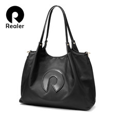 Realer Women handbags Oxford cloth shoulder bag large top-Handle bags ladies patent leather messenger tote bag female brand(China)