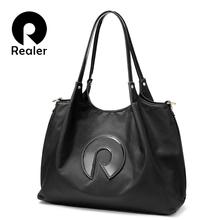 Realer Women handbags Oxford cloth shoulder bag large top-Handle bags ladies patent leather messenger tote bag female brand