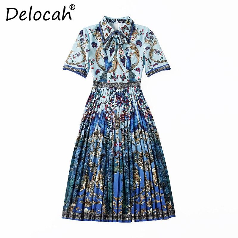 Delocah Summer Fashion Designer Dress Runway Women s Half Sleeve Elegant Bow Pleated Flower Printed Vintage