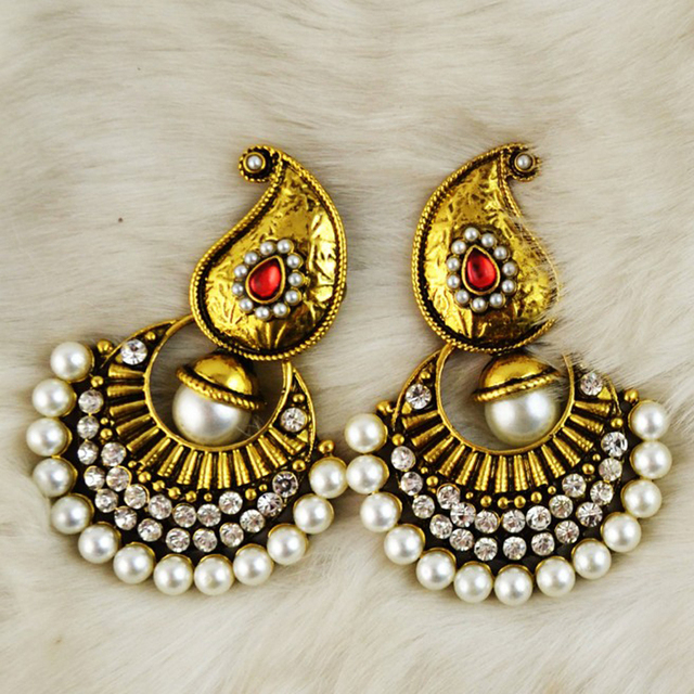 Vintage Faux Pearl Indian Jhumki Jhumka Drop Earrings Rhinestone Antique Gold Tribal Accessories Women Bridal Party