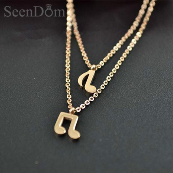 Stainless Steel 2 Layer Choker Necklace Music Note Symbol Pendant