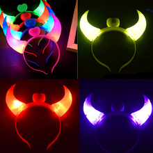 N2HAO Halloween Costumes Devil Horns LED Flash Light Colorful Baby Hair Hoops Headwear Head Band Party Supplies