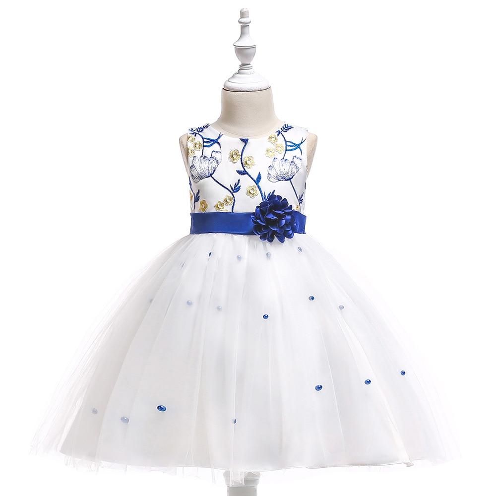 Ball Gown Sleeveless Beige Knee Length   Flower     Girl     Dresses   Blue Kids   Dress   Children   Girls     Dresses   with Bow