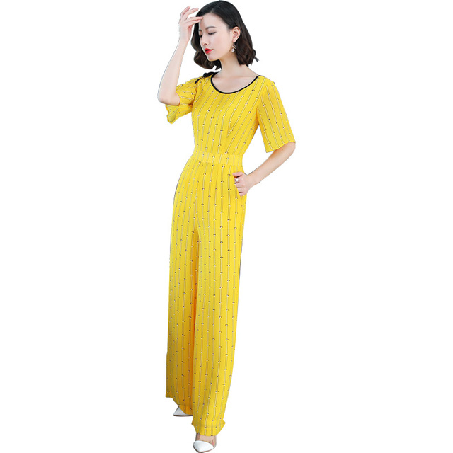 f5893636513 New 2018 Jumpsuits Women Vintage Trousers Yellow Stripes Casual Overalls  Jumpsuit Female Wide Leg Pants Rompers Womens Jumpsuit