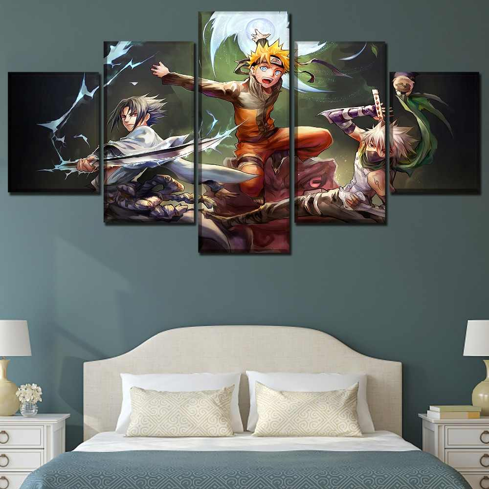 5 Panels Anime Naruto Swordsmen Poster Wall Art Home Decorative Modular Pictures Framework High Quality Canvas Print Painting