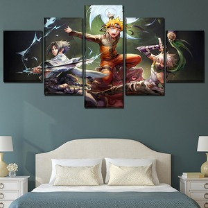 5 Panels Anime Naruto Swordsmen Poster Wall Art Home Decorative Modular Pictures Framework High Quality Canvas Print Painting(China)