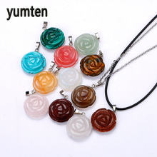 Yumten Natural Crystal Sculpture Roses Stone Pendants Silver Plate Jewelry Women's Charms Necklace Reiki Gorjuss Druzy Gift Asg(China)
