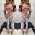 2016 tracksuit dashiki Casual Sexy velvet collar Club clothing tight Bandage Club ensemble femme survetement for women's set