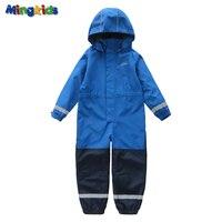 Mingkids boy outdoor rompers hooded fleece Jumpsuit Ski overalls Warm rain windproof waterproof autumn spring clothes Europe
