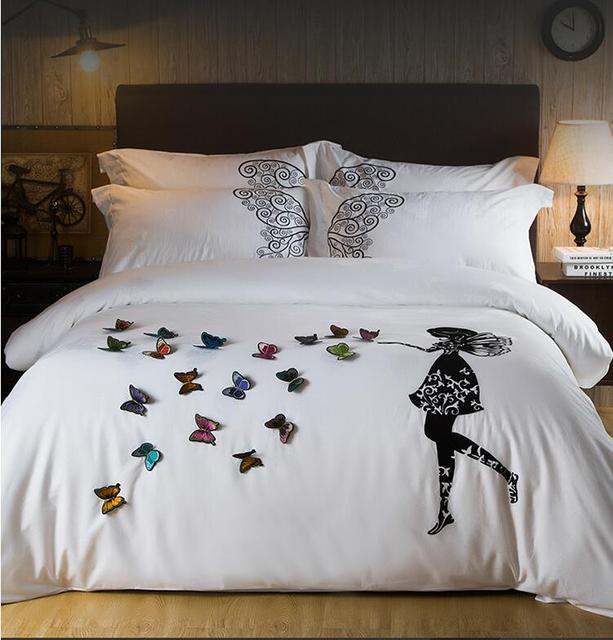 Us 11895 35 Off2017 ägypten Baumwolle Weiß Schmetterling Stickerei Luxus Bettwäsche Set 4 Stücke König Queen Size Mädchen Bett Set Bettbezug