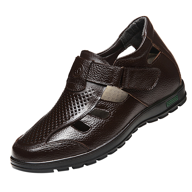 New Summer Height Increasing Elevator Sandals Shoes Tall Men Height 7cm Invisibly Color black and brown