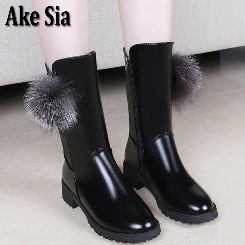 Ake Sia Occident Style Autumn Winter Fashion Women Mujer Fluff Ball Slip-On Snow Bottine Martin Combat Boots Shoes Booties F209 ake sia british winter fashion women warm hairy fluff slip on snow bottine martin boots increased with shoes ankle booties f275