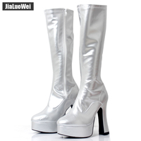 2018 New Fashion Women FUNTASMA EXOTICA 2000 4 Chunky Heel Platform GOGO Boot Knee High Boot sexy Leather Shoes Western Style