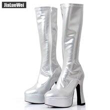 """2018 neue Mode Frauen FUNTASMA EXOTICA 2000 4 """"Chunky Ferse Plattform GOGO Boot Kniehohe Stiefel sexy Leder Schuhe Westlichen stil"""