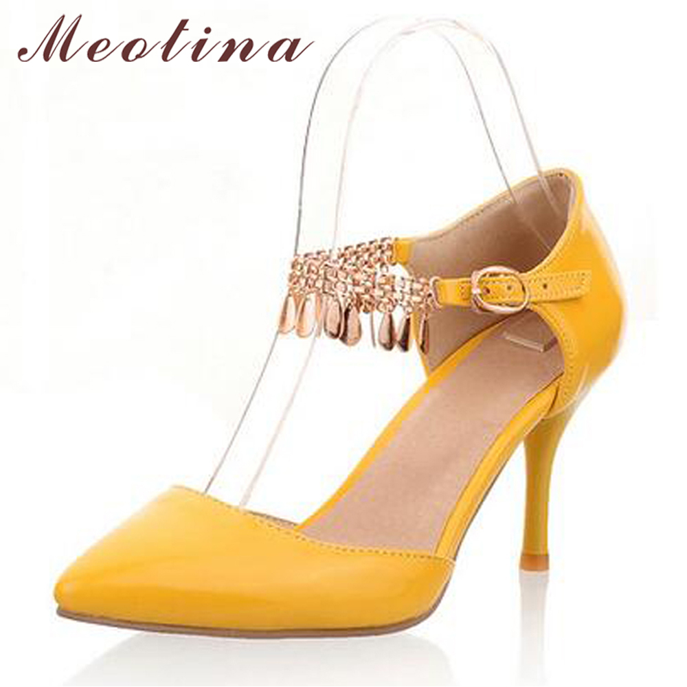 Meotina Shoes Women Sexy High Heels Wedding Shoes Pointed Toe Pumps Two Piece Heels Bling Tassel Ladies Shoes White Size 11 12 meotina high heels shoes women pumps party shoes fashion thick high heels pointed toe flock ladies shoes gray plus size 10 40 43