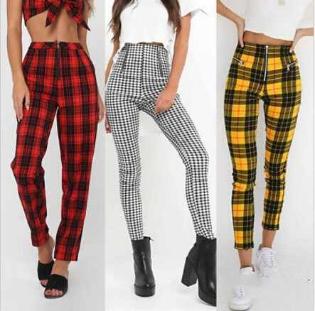 Women High Waist Plaid Stretch Skinny Pencil Pants Trousers Denim Leggings Jeggings Casual Women Clothing