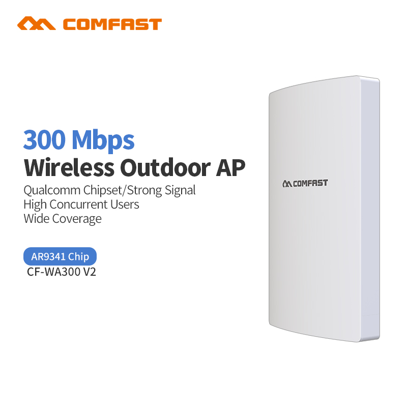 Comfast WA300V2 High Power Outdoor Wifi Repeater 300Mbps 2.4G Wireless Wifi Router 500mW Antennas 48 V PoE Wifi Coverage base