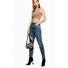 дешево!  Женская мода Джинсы с высокой талией Нерегулярные джинсы с дырочками Прямые тонкие ноги Шаровары