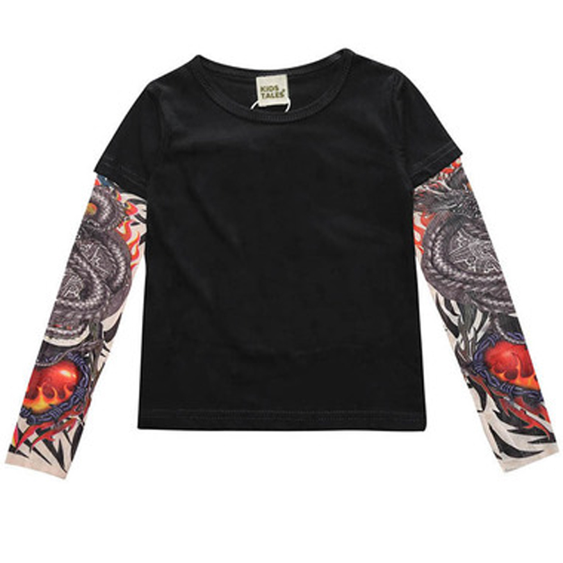 New Spring Boys Girls Cartoon Cotton Tattoo T Shirts Children Tees Boy Girl Long Sleeve T Shirts Kids Tops Baby Clothes 12M 6Y in T Shirts from Mother Kids