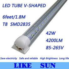 Free shipping 25pcs/lot Integrated Cooler Door T8 6feet 1800mm 42W SMD2835 4200lm 85-265V V-Shaped led tube light