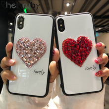 Tempered Glass Case  Phone Case For iPhoneX XR flash rhinestone Love mobile phone Case For iPhone7 8 6S Cover