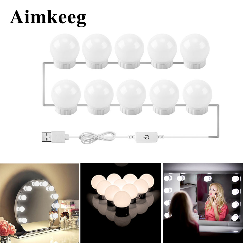 USB Led Mirror Light Bulbs Makeup Vanity Table Mirror Lights Hollywood Mirror Lamp Dressing Mirror Dimmable Cosmetic Lamp(China)
