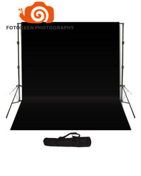 Professional hot sale photography Studio accessories,2m*3m Background Support stand+10 x 20 Black Backdrop+one Black Carry Bag