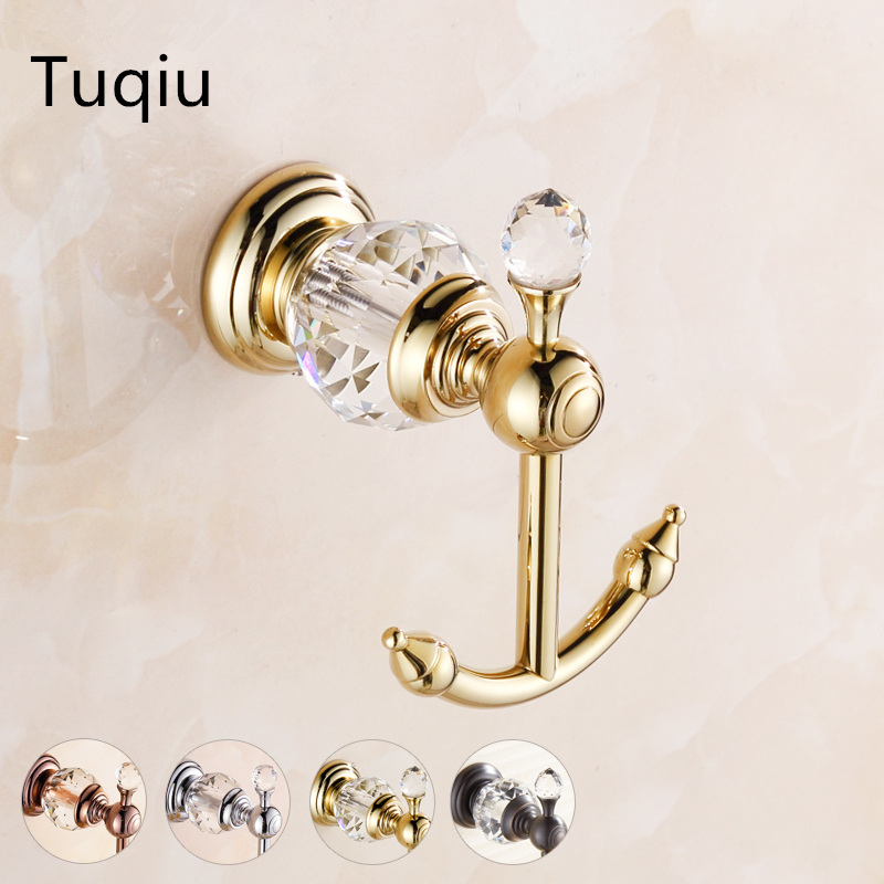 2016 High Quality Copper Towel Hooks Wall Mounted Gold Double Robe Hook,Clothes Hook,Towel Holder,Towel Hanger Bathroom hook wall mounted hook
