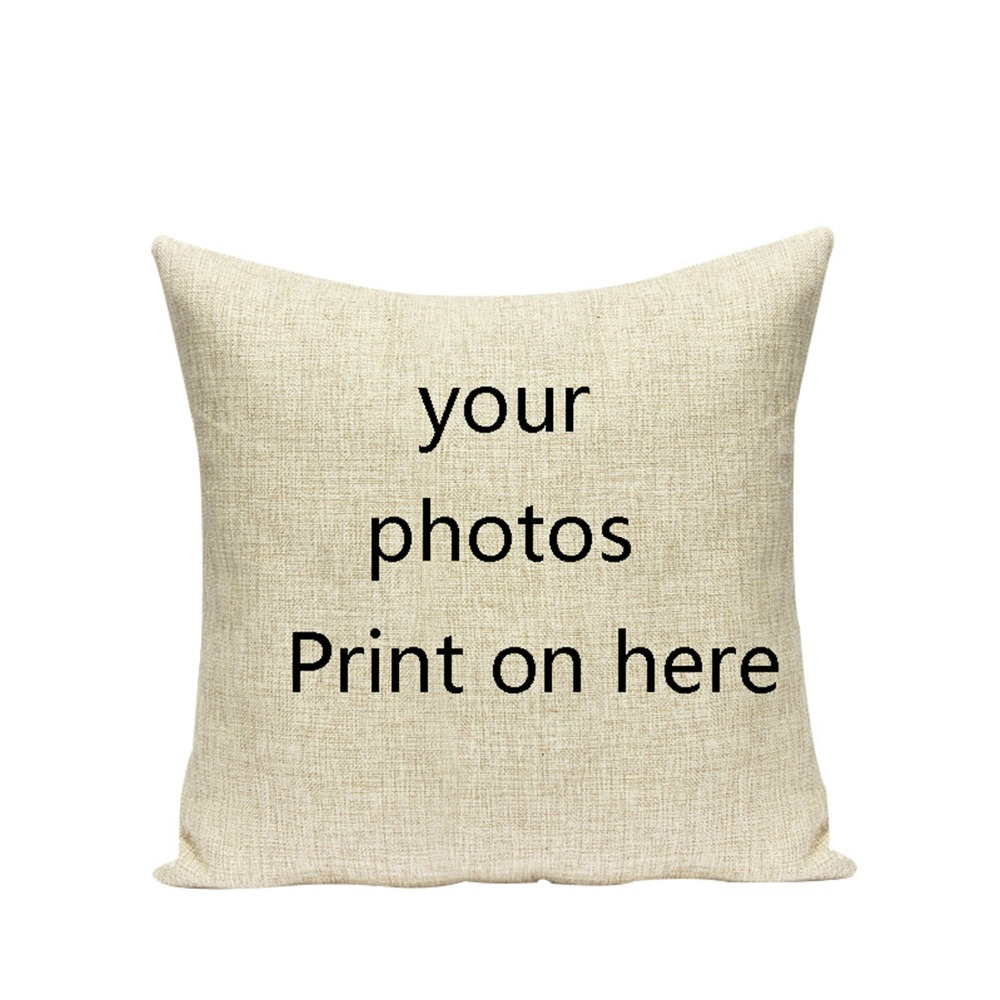 Your Photo Here Printed Custom Linen Cushion Cover Pets Personal Photos Cotton Linen Decorative Pillowcase Home