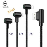 3 팩 Mcdodo iPhone X 8 7 6 6 s 플러스 USB 케이블 충전 데이터 케이블 충전기 코드 90도