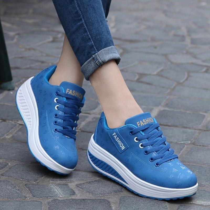 2018 Women Sneakers Leather Breathable and Shoes Sport Shoes Shake Shoes Fitness Shoes Black/Blue cross training shoes walking arder shoes for women leather sport shoes soled sneakers allmatch students flat shoes fitness