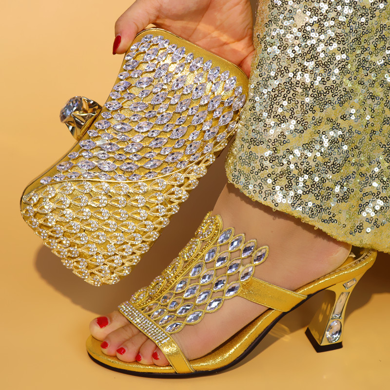 Gold Color Novel Design Shoes and Bag Set African Set Italian Shoes with Matching Bag Women Shoes and Bag African Party Shoes стоимость