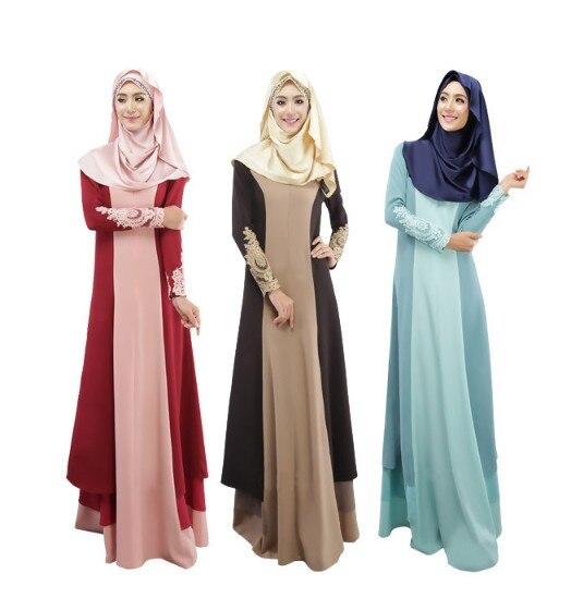 2018 mode popeline nouveauté offre spéciale Appliques adultes Jilbabs et Abayas malaisiens femmes musulmanes robe couleur femme