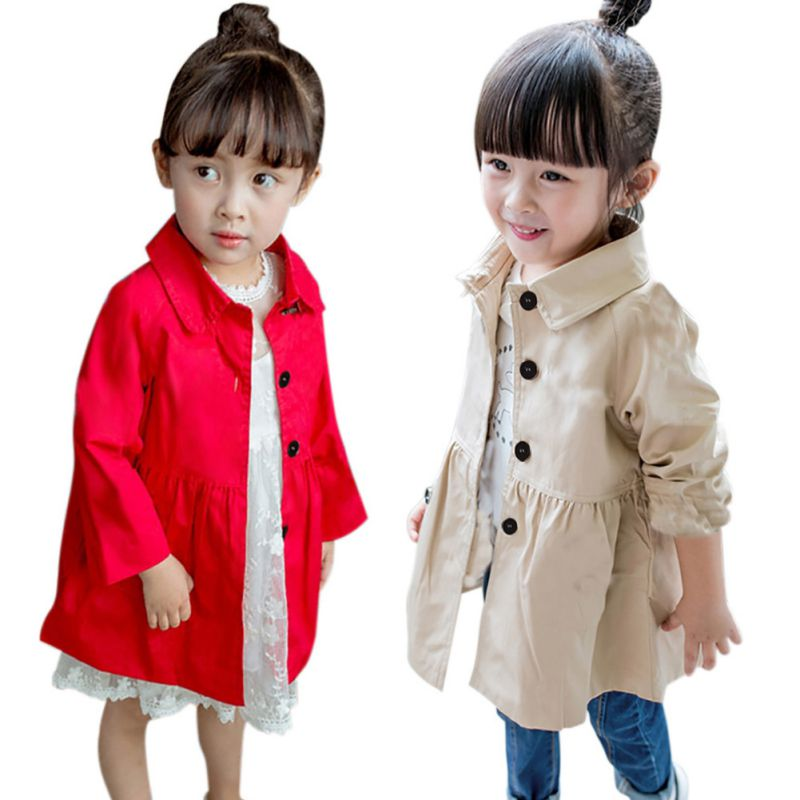 2018 New Year Baby Girl Clothing Outerwear Spring Trench Solid Color Fashion Big Baby Clothes Girl Trench Windbreaker Outerwear