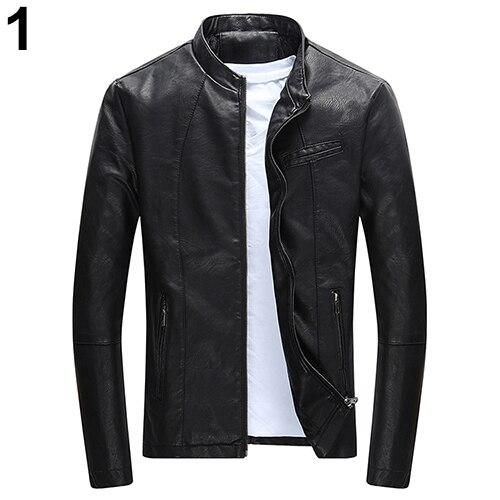 New Men Fashion Winter Casual Slim Fit Cool Zipper Pocket Faux Leather Jacket Coat