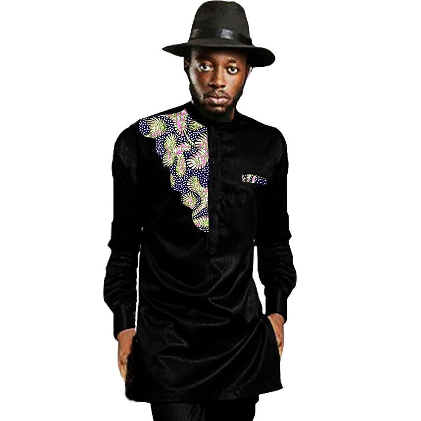 African Mens Africa Clothing Men Dashiki Shirts Stand Collar Fashion Long Sleeve Shirt Custom
